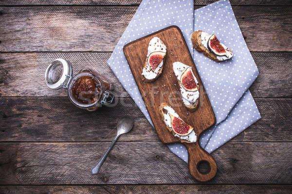 брускетта деревенский стиль завтрак Сток-фото © Arsgera