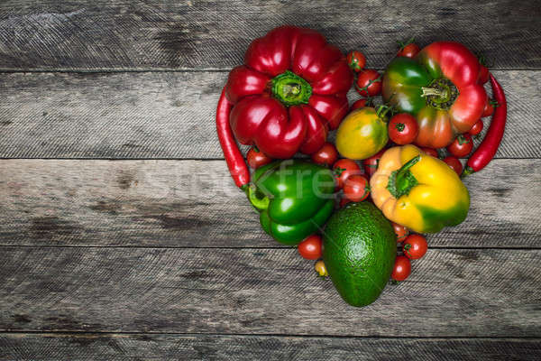 Fresh vegetables heart shape as healthy eating concept Stock photo © Arsgera