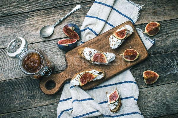 Cut брускетта Jam салфетку завтрак обед Сток-фото © Arsgera