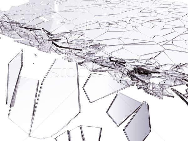 Pęknięty szkła biały streszczenie Zdjęcia stock © Arsgera
