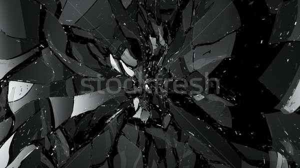 Foto stock: Peças · rachado · vidro · preto · grande