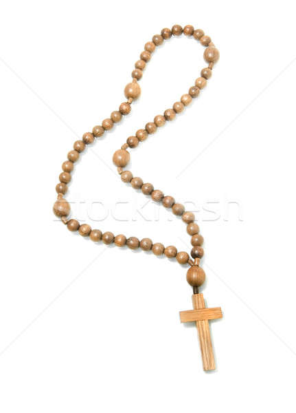 Top view of Wooden rosary beads Stock photo © Arsgera