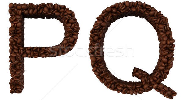 Coffee font P and Q letters isolated Stock photo © Arsgera