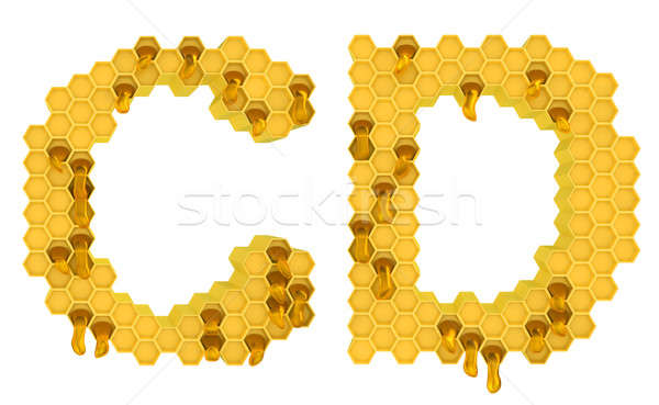 Honey font C and D letters isolated Stock photo © Arsgera