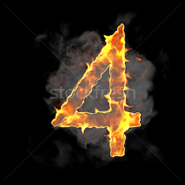 Burning and flame font 4 numeral  Stock photo © Arsgera