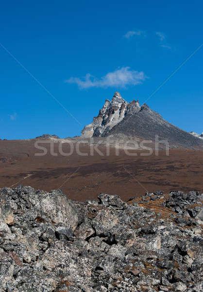 Hegy kövek Himalája égbolt tájkép jég Stock fotó © Arsgera