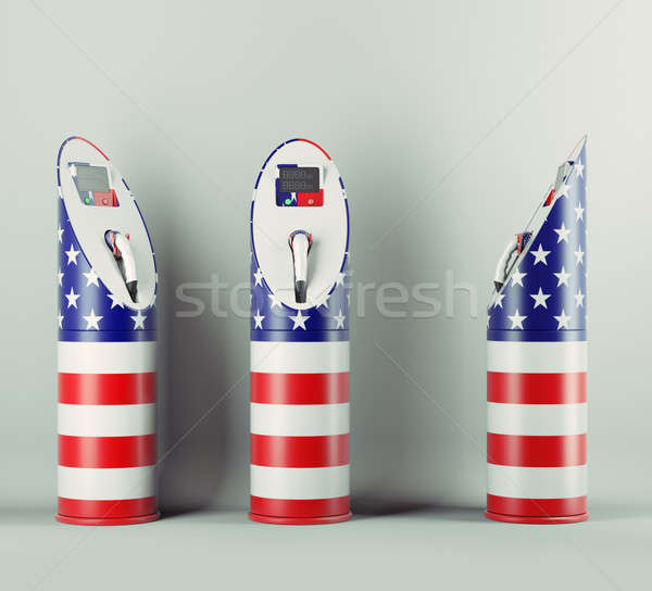 Eco fuel: three charging stations with USA flag pattern Stock photo © Arsgera