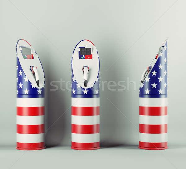 Eco yakıt üç ABD bayrak model Stok fotoğraf © Arsgera