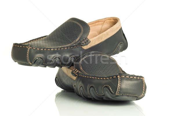 Pair of modern black mens shoes moccasins  Stock photo © Arsgera