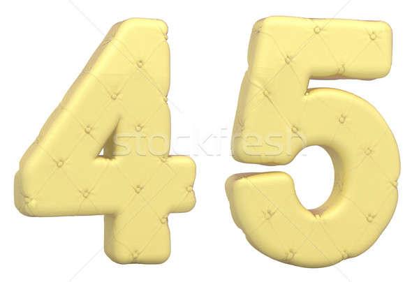 Luxury soft leather font 4 5 digits Stock photo © Arsgera
