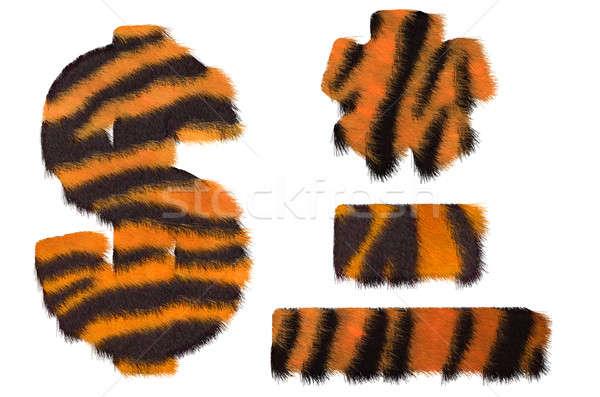 Tiger fell dollar symbol, dash, hyphen and asterisk Stock photo © Arsgera