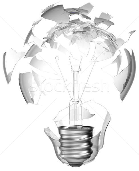 Bad idea. Smashed lightbulb isolated Stock photo © Arsgera