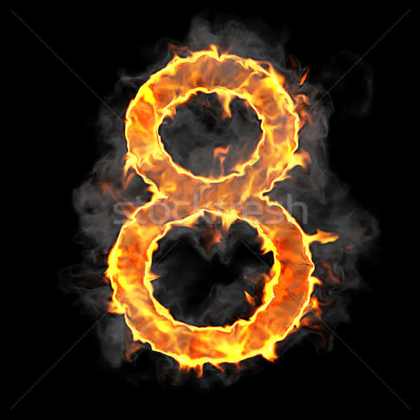Burning and flame font 8 numeral Stock photo © Arsgera