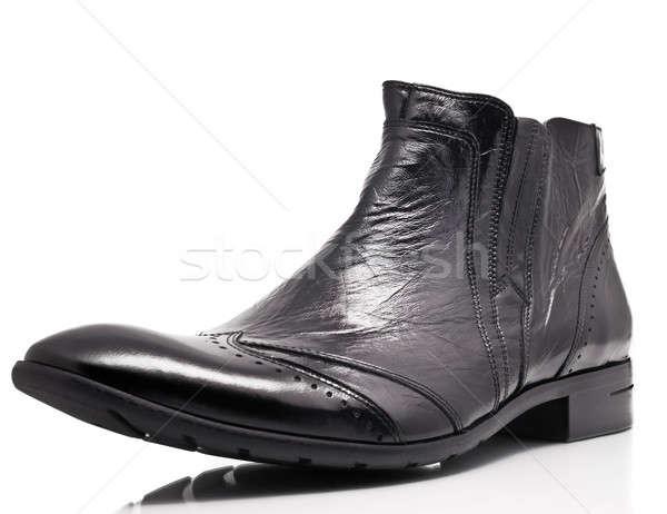 Zwarte octrooi leder boot witte mannen Stockfoto © Arsgera
