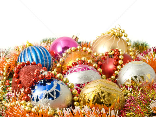 Beautiful Christmas decoration - balls and colorful tinsel Stock photo © Arsgera