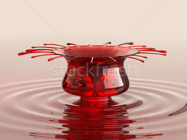 Splash of cherry juice or wine with droplets Stock photo © Arsgera