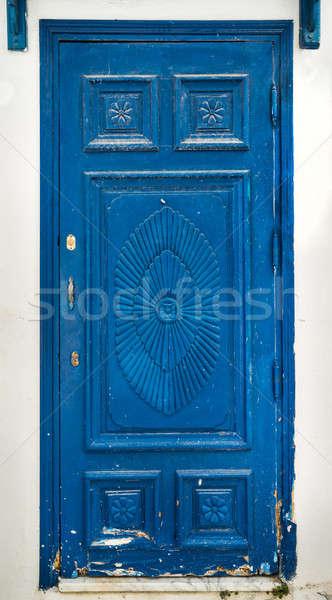 Blue wooden door as symbol of Sidi Bou Said  Stock photo © Arsgera