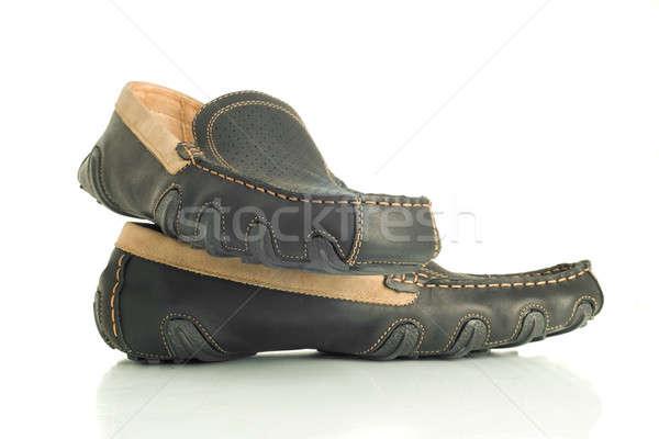 Trendy black mens shoes moccasins Stock photo © Arsgera