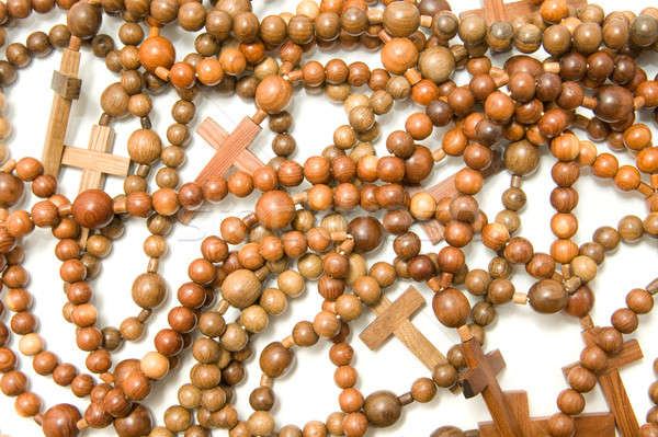 Large group of Wooden rosary beads Stock photo © Arsgera