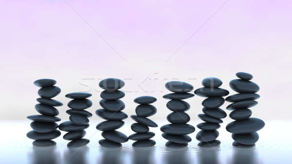 Harmony and balance. Many Pebble stacks on water Stock photo © Arsgera