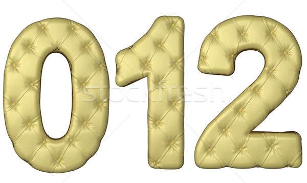 Luxury beige leather font 0 1 2 numerals Stock photo © Arsgera