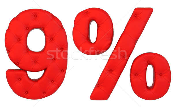 Stock photo: Luxury red leather font 9 numeral and percent