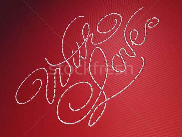 Miłości haft słowa czerwony materiału Zdjęcia stock © Arsgera