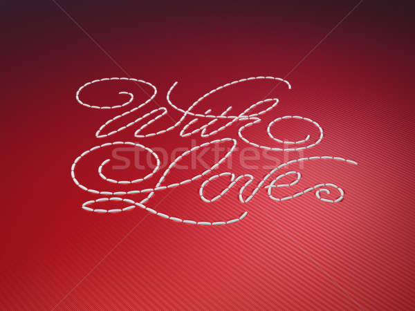 With love stitched embroidery words on red Stock photo © Arsgera