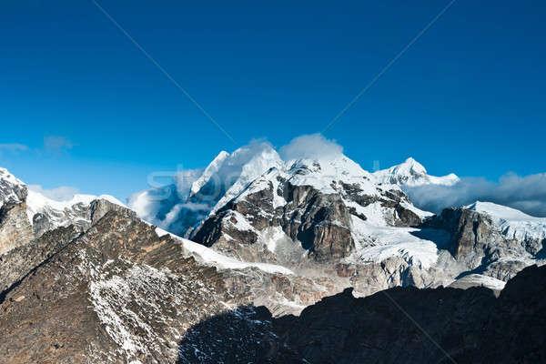 Mountain summits scene viewed from Gokyo Ri peak Stock photo © Arsgera