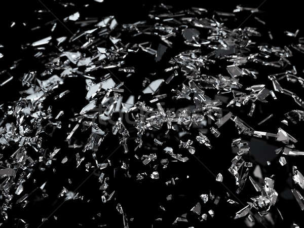 Pieces of splitted or cracked glass shallow dof Stock photo © Arsgera