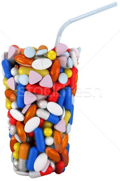 Glass shape assembled of pills with straw Stock photo © Arsgera