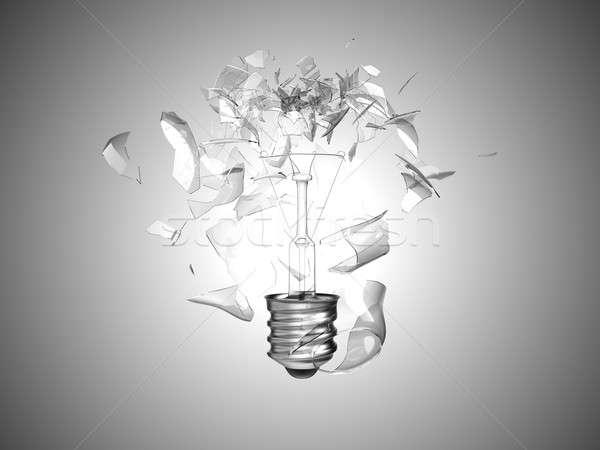 Bad idea. Crushed lightbulb over grey  Stock photo © Arsgera