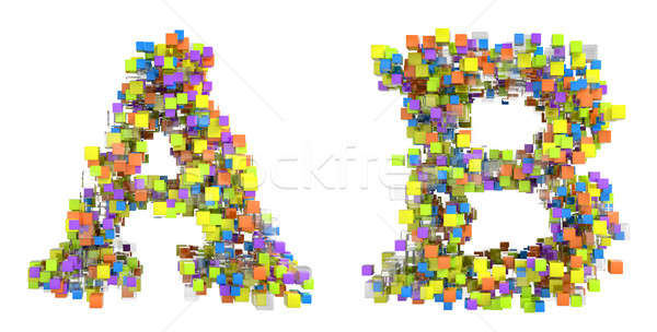 Abstract cubes font A and B letters isolated Stock photo © Arsgera