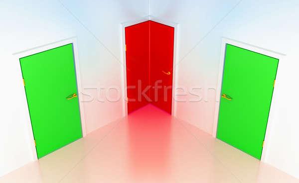 Right or wrong: conceptual corner door Stock photo © Arsgera