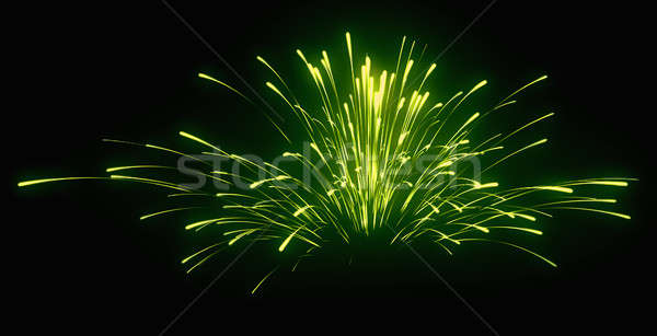 Holiday: green festive fireworks at night Stock photo © Arsgera