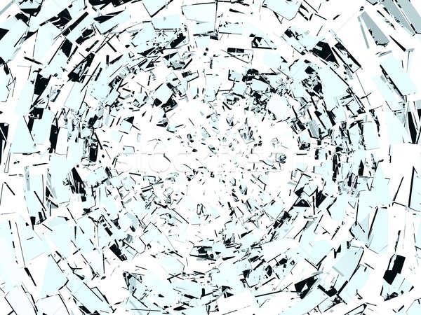 Imha parçalar kırık cam yalıtılmış beyaz soyut Stok fotoğraf © Arsgera