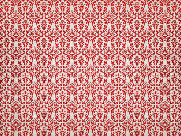White Alligator skin background with red victorian ornament Stock photo © Arsgera