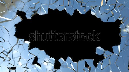 Sharp pieces of blue smashed glass and hole  Stock photo © Arsgera