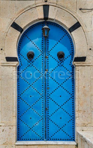 Azul tradicional porta arco parede rua Foto stock © Arsgera