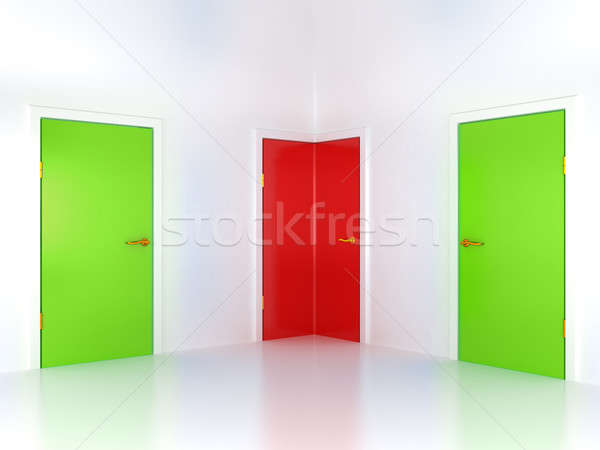 Right or wrong way: conceptual corner door Stock photo © Arsgera