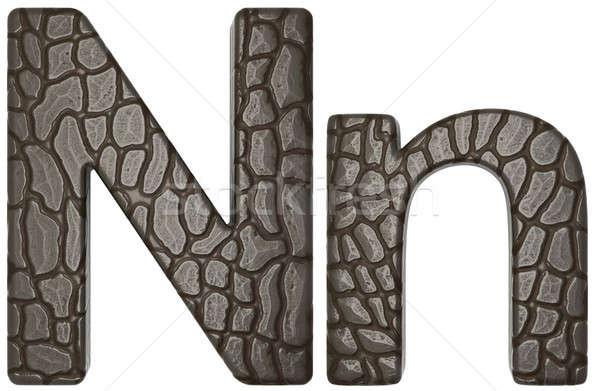 Alligator skin font N lowercase and capital letters Stock photo © Arsgera