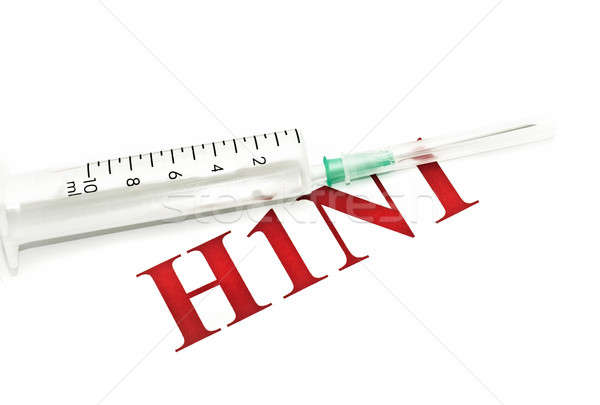 Swine FLU H1N1 - syringe and red alert Stock photo © Arsgera
