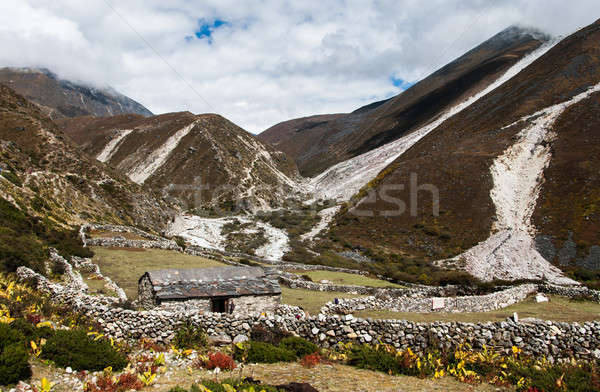Life in Nepal: highland village and peaks in Himalayas Stock photo © Arsgera