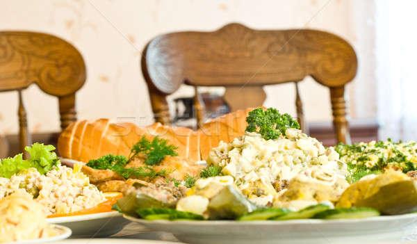 Diner banket restaurant gericht een schotel Stockfoto © Arsgera