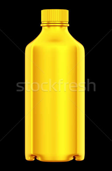 Dourado garrafa produtos químicos drogas isolado preto Foto stock © Arsgera