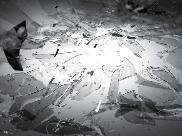 Broken or Shattered glass on grey with shallow DOF Stock photo © Arsgera