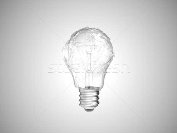 Making mistake. Broken lightbulb over grey Stock photo © Arsgera