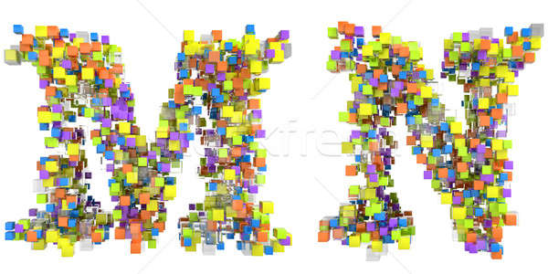 Abstract cubic font M and N letters isolated Stock photo © Arsgera