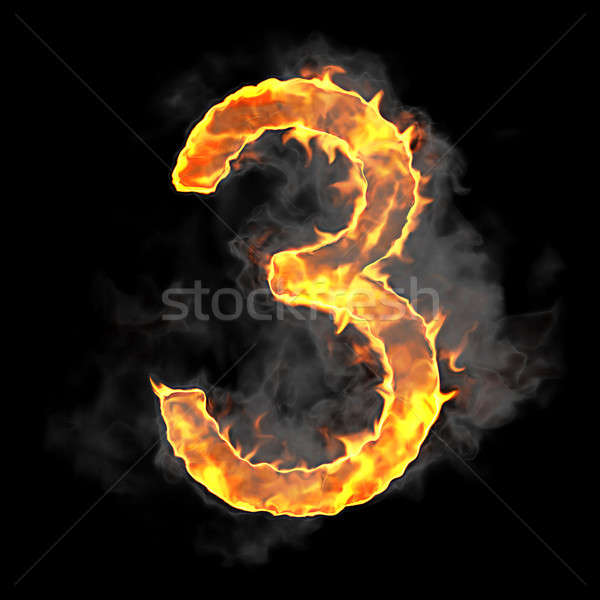 Burning and flame font 3 numeral  Stock photo © Arsgera