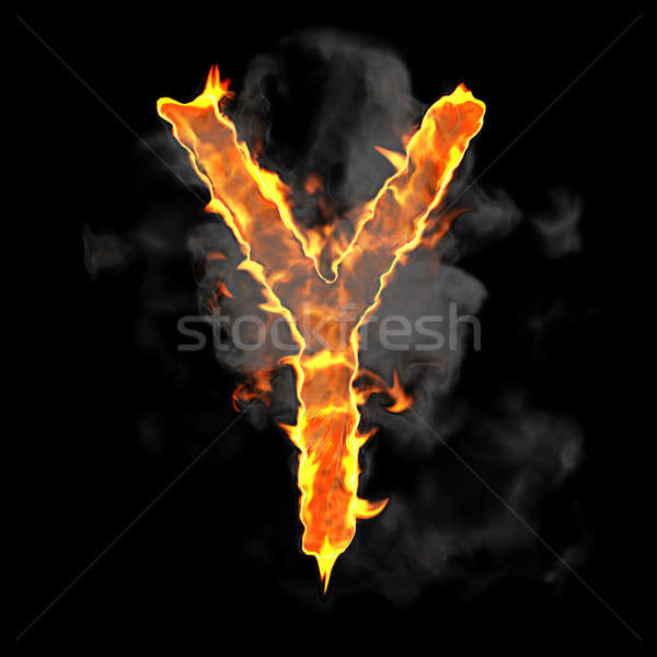 Burning and flame font Y letter Stock photo © Arsgera